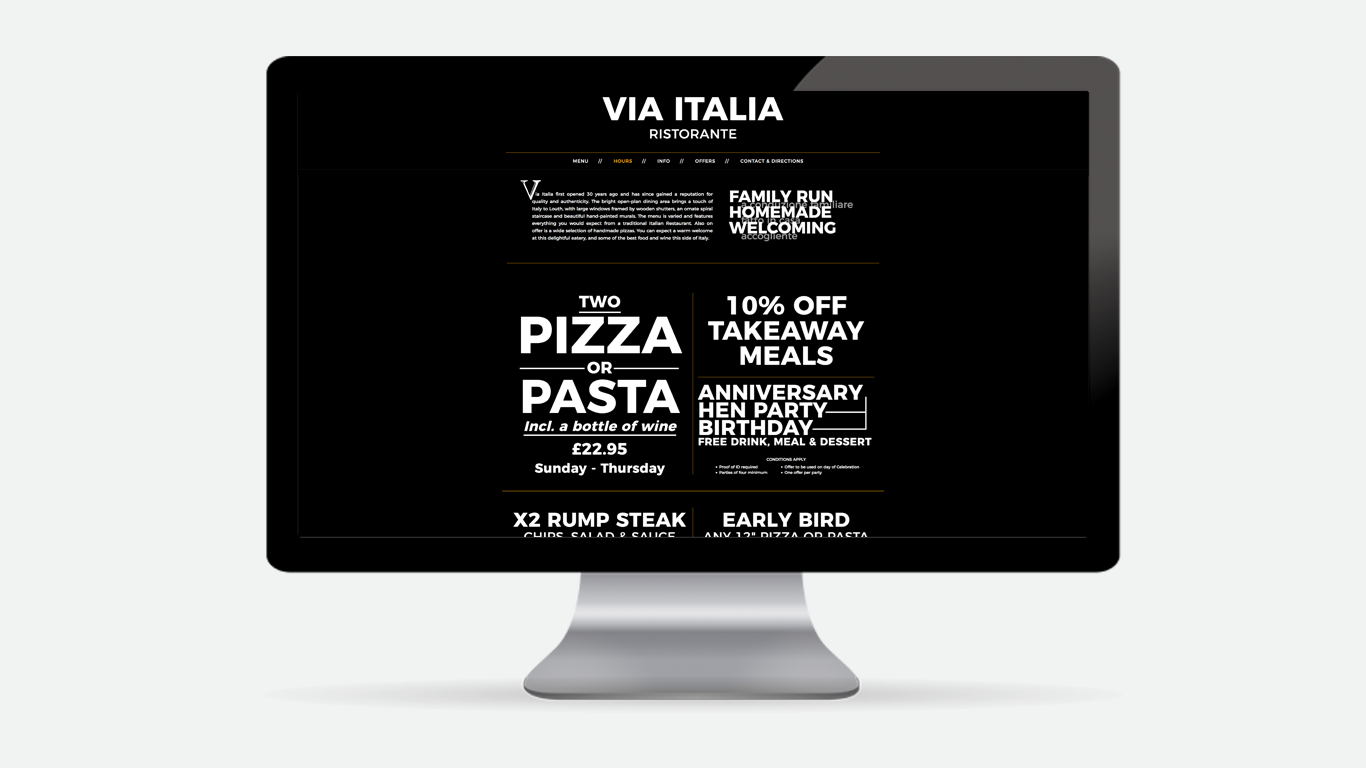 Via Italia Restaurant - Website